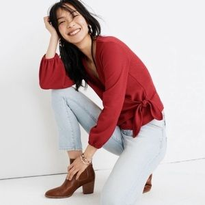 Madewell Texture & Thread Crepe Wrap Top L